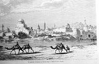 View of Mosul by the Tigris River, drawing by M.E. Flandin. Engraving from 'Le tour du monde'