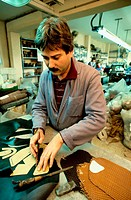 Shoemaker at work. Balearic Islands, Spain
