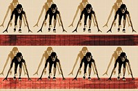 Digital composite of runners at starting line (thumbnail)