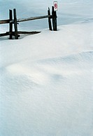 Wooden fence and snow, abstract landscape (thumbnail)