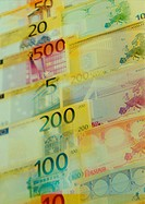 Closeup of Euro banknotes of differing values (thumbnail)