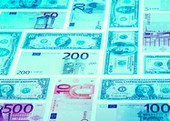Euro banknotes of differing values in tile pattern (thumbnail)