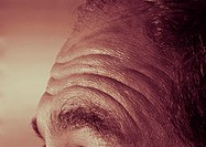 Black and white close up of elderly caucasian/european mans furrowed brow (thumbnail)