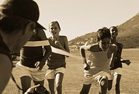 Black and white image of sports day (thumbnail)