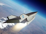 X-43C aircraft.  Computer artwork of NASA´s  X-43C or  Hypersonic  Experimental  Vehicle (Hyper-X) in flight.  The Hyper-X programme was started in 19...