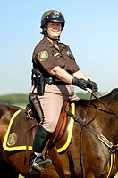 Mounted Sheriff deputies on patrol at an air show