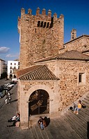 Torre del Bujaco (12th century) and Plaza Mayor. Caceres. Extremadura. Spain
