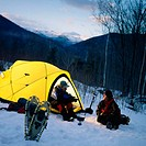 Snow camping in New Hampshire. USA