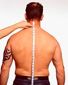 Measuring along male back
