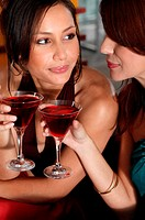 Women drinking in bar