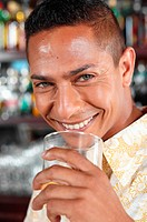 Man drinking in bar
