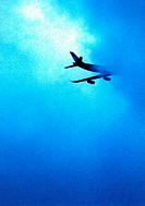 Airplane, clouds, detail, alienated