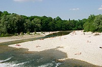 River Isar near Flaucher. Munich. Bavaria. Germany