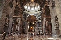 Interior of St. Peter's basilica. Vatican City. Rome, Italy