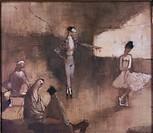 Ü Kunst _ Trnka, Jiri 1912 _ 1969 Gemälde Ballettprobe, 1975 Privatsammlung, Prag tanz ballett tanzunterricht unterricht lehrer schülerin ARTIST´S COP...