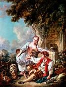 Ü Kunst, Boucher, Francois (29.9.1703 - 30.5.1770), Gemälde ´Dressur eines Hundes´ Musee d`Art et d`Histoire, Nimes rokoko, gesellschaft, ländliche sz...