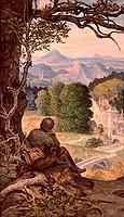 Ü Kunst, Schwind, Moritz von (21.1.1804 - 8.2.1871), Gemälde ´Auf Wanderschaft´ Schackgalerie München  dt., romantik landschaft, mann sitzend, verträu...