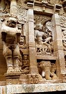 Geo., Indien, Kanchipuram, Tamil Nadu, Hauptstadt der Pallava-Dynastie 3.- 8. JH., Sri Kailasanathar  Tempel, Detail, Fassade  Heilige Stadt der Hindu...