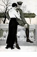 1.Weltkrieg - Propaganda, Deutschland, farbige Kriegspostkarte von B.Wennerberg um 1915, ´Auf Urlaub´  Orden Eisernes kreuz Paar, nationaler Kitsch, F...