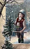c. SG hist., Weihnachten, junger Knabe mit Axt und gefällten Weihnachtsbaum  Originalpostkarte! Christbaum,Tracht,Lederhose,Mütze,