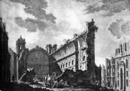Naturkatastrophen hist.- Erdbeben, Lissabon 1.11.1755, Ruine einer Kirche, nach Kupferstich 1756  Katastrophe, Portugal, zerstörung, zerstört, 18. JH.