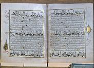 SG hist. Religion, Islam, Koran, Seite aus einer arabischen Handschrift, 1389,  Bayerische Staatsbibliothek München  literatur schrift buch aufgeschla...