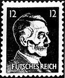 Ereignisse hist.- 2. Weltkrieg, Propaganda,  Großbritannien, gefälschte deutsche 12 Pfennig  Briefmarke ´Futsches Reich´, um 1942, Adolf Hitler  als T...