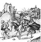 Verkehr hist.- Straße, Bauernfamilie a.d. Landstraße im 15. Jh. , Kupferstich von Martin Schongauer (1446 - 1491) Kupferstichkabinett, Berlin Frau und...