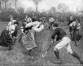 Sport hist.- Feldhockey, Großbritannien, Spiel Damen gegen Herren, Zeichnung von Ernst Prater, 1912  Hockey