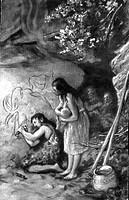 SG hist., Vorzeit, Höhlenzeichnung, nach erfolgreicher Jagd meißelt die Umrisse eines Mammut in den Wand seiner Höhle  frau mit kind daneben, malerei