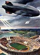 Sport hist,- Olympische Spiele Berlin 1936 Eröffnung 1.8.1936, Luftschiff Hindenburg über dem Reichssportfeld, Zeichnung von Hans Liska, KÜNSTLERRECHT...
