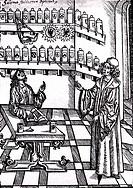 Medizin hist.- Pharmazie, Arzt in der Apotheke zeigt auf Medizinen, Holzschnitt zu ´Das nüw Buch der rechten Kunst zu destillieren´ von Hieronymus Bru...