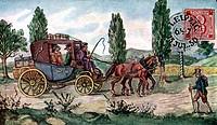c Post hist.- Postkutsche, Sachsen um 1850 Kutsche zwischen Dresden & Leipzig, Historienbild, farbige Zeichnung nach Postkarte