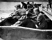 Nationalsozialismus - Wehrmacht, Heer,  Pioniere beim Brückenbau, Juni 1941 PK-Foto: Heint Pollmann wahrscheinlich eine Übung Deutschland hist, Dritte...