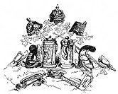 Deutschland hist.- Politik, Deutsche Einheit,  französische Karikatur, 1870er Jahre    Preußen, Bayern, Bierkrug, Pickelhaube, Lederhel, Kaskett, Raup...