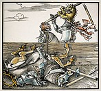 middle ages, tournamant, joust, coloured woodcut by Hans Schäufelin, Nuremberg, circa 1520, private collection, duel, knight, knights, plate armour, w...