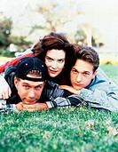 Film, ´Einsam-Zweisam-Dreisam´ (Threesome) USA 1994, Regie: Andrew Fleming, Szene mit Lara Flynn Boyle, Stephen Baldwin & Josh Charles Jugendliche auf...