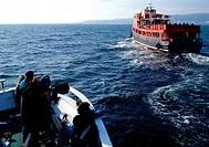 Film ´Montags in der Sonne´ (Los lunes al sol), E / F / I 2002, Regie Fernando Le¢n de Aranoa, Aufnahme vom Schiff und Crew während der Dreharbeiten  ...