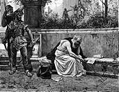 Archimedes, um 285 - 212 v.Chr, griech. Mathematiker, sein letzter Augenblick, Xylographie, 19.Jahrhundert  wissenschaft hist., mathematik historienbi...