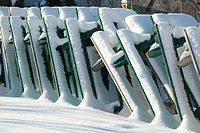 Park tables pilled in winter