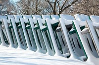 Park tables in winter