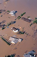 Feather River floods homes at Yuba City area. California. USA