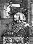 Maximilian I., 22.3.1459 - 12.1.1519, Röm.-  Deut. Kaiser seit 10.2.1508, Brustbild, Halbprofil,  Kupferstich von Lucas van Leyden, 1520, Privatsammlu...