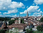 Bern, Berne, churches, city, cloud, sky, minster, Nydegg, church, old town, overview, roofs, Switzerland, Europe, to