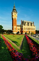 building, Calais, city hall, construction, flowers, France, Europe, hotel de Ville, park, Pas de Calais, patches, tr
