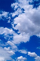 Puffy clouds in sky