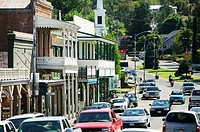 View along Main Street in the fromer gold rush town of Sutter Creek. Gold Country. California, USA