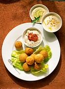Felafel with assorted Dips