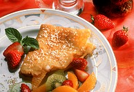 Crepe with Coconut Flakes, Strawberries and Exotic Fruit