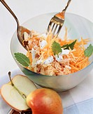 Raw carrot salad with grated apple, almonds, lemon balm (2)